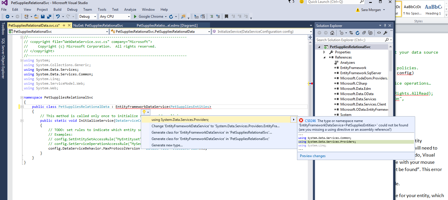 Step Two: Create ASP NET Application to Expose Data as oData