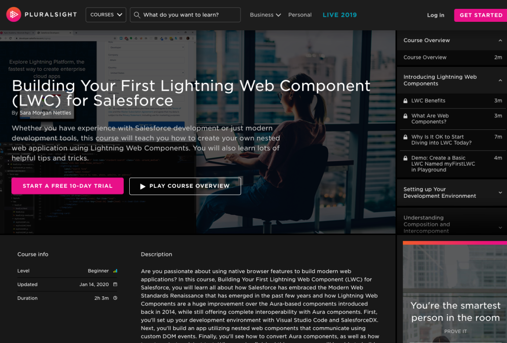 "New Pluralisght course ""Building Your First Lightning Web Component for Salesforce"""