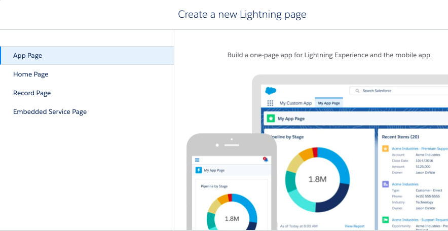 Wizard from Lightning App Builder