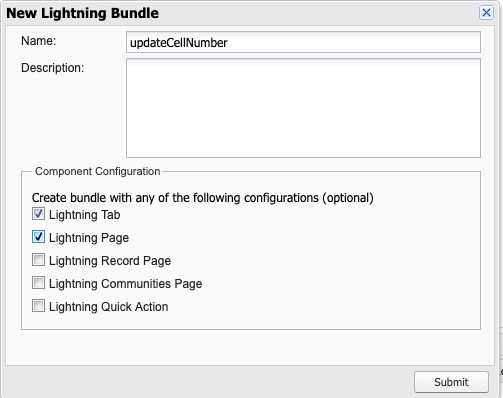 Create new Lightning Bundle in Developer Console