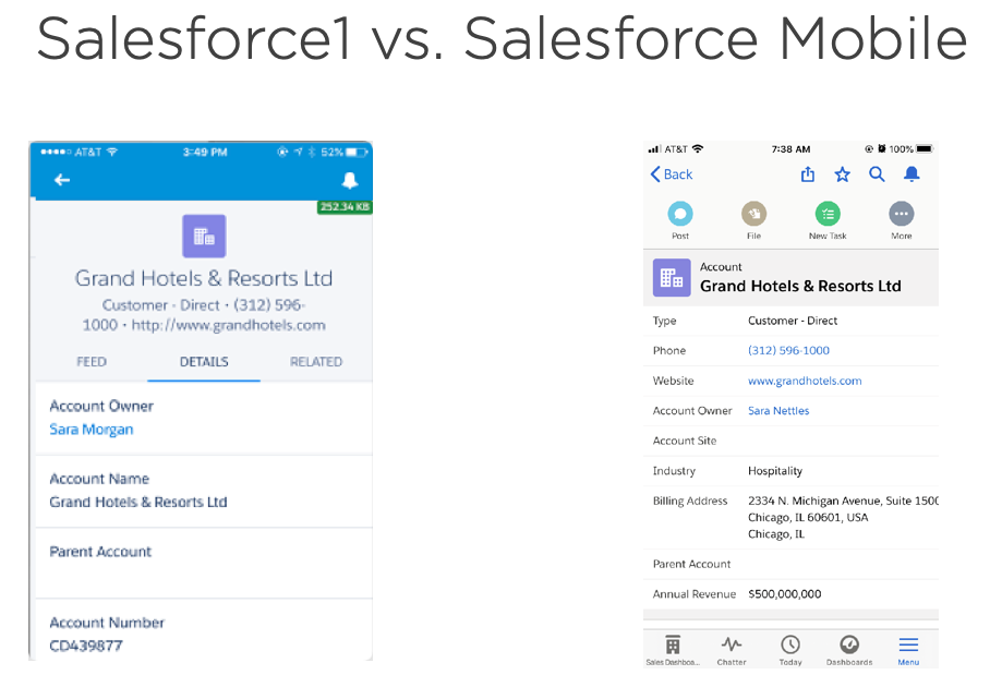 Image comparison of Salesforce1 (left) vs New Salesforce Mobile App (right)